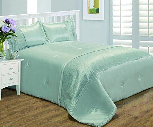 King Size Bett Serene Duck Egg Blau, Tagesdecke Set, von Ambiente, luxuriöse Kunstseide-Crinkle-Effekt Band, Überwurf Tagesdecke & Kissenbezüge (Pintuck Band)