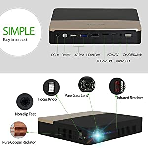 LED Home Cinema Theater Wifi Bluetooth Video Projector 3D DLP Full HD 1080P Wireless Android Projectors for Movie Games TV Presentations Indoor Outdoor Entertainment with HDMI VGA USB AV for Smartphone Computer XBOX WII U PS3 PS4 TV Box