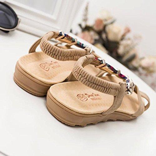 Webla Damen Sommer Sandalen Schuhe Peep-Toe Low Schuhe Römische Sandalen Damen Flip Flops Beige