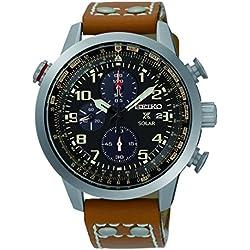 Seiko Men's Quartz Watch with Chronograph Quartz Leather SSC421P1