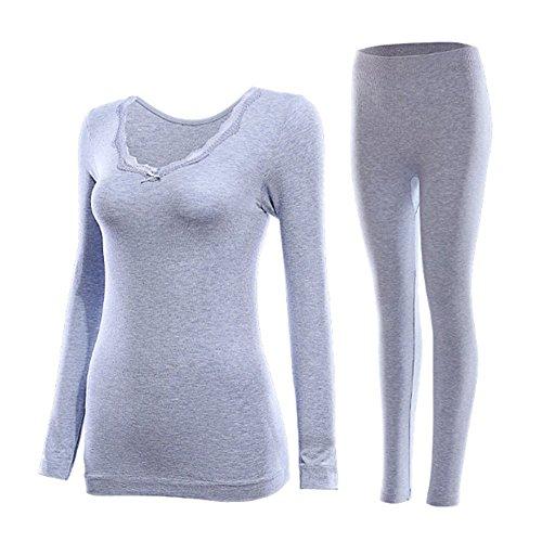 Swallowuk Damen Warme Spitze V-Ausschnitt Unterwäsche Thermal Underwear Funktionswäsche Sets (Blau)