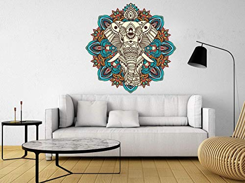 Vinilo Decorativo Pared Elefante Mandala | Varias Medidas 120x120cm | Pegatina Adhesiva Decorativa de Diseño Elegante