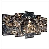 HXZFF Bilder auf Leinwand 5-teilig Moderne Wanddekoration Für Wohnzimmer high-Definition Inkjet Modulare Drucke Poster Wandkunst malerei rahmenlose Schlafzimmer 150x80 cm Buddha-Figur