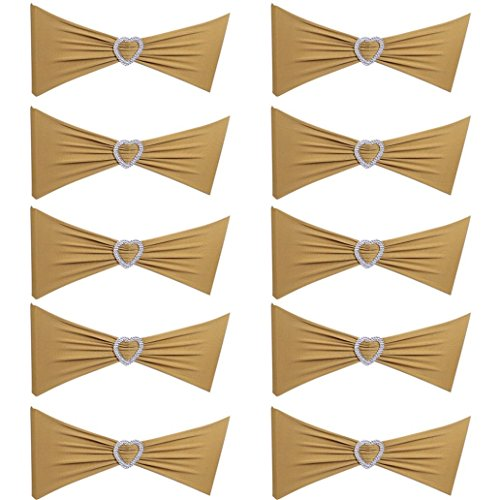 Bodhi2000 10 Stücke Spandex Stuhl Schärpe Bögen Elastische Stuhl Bands Mit Herz Schnalle Slider Bögen Für Hochzeit Dekorationen (Golden) (Bogen Schnalle)