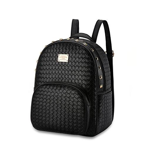Nicole&Doris New Women Weave Travel Shoulder Bag Backpack Purse Satchel PU Leather Fashion Personality Black