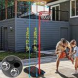 Impianto da Basket | Portatile, con Ruote, Altezza Regolabile 1,13-2,36 m, da Esterno, Riempibile con Acqua o Sabbia | Canestro da Basket con Colonna