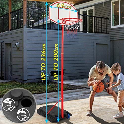 Infantastic Canasta de Baloncesto | Portátil con Soporte y Ruedas, Altura Ajustable de 113 hasta 236 cm, Base con Agua/Arena, para Niños y Adultos | Cesta de Baloncesto