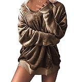 ESAILQ Damen Mit Kapuze Weichem SAMT Pullover Kapuzenpullover Sweatshirt Oversize Mantel Jacke(Medium,Khaki)