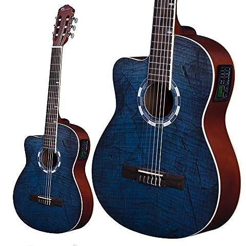 Lindo Guitars GAUCHER 960CEQ Guitare électro-acoustique classique Bleu Picasso épicéa naturel–Avec Housse