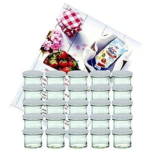 MamboCat 25er Set Sturzglas 125 ml Marmeladenglas Einmachglas Einweckglas to 66 weißer Deckel incl. Diamant-Zucker Gelierzauber Rezeptheft