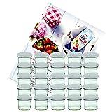 Set di 25 vasetti in vetro da 125 ml vetro, To 66, barattoli per conserve e marmellate, con coperchio bianco e quaderno di ricette