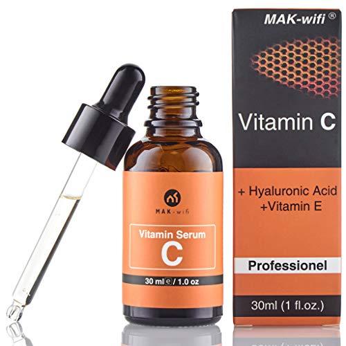 Vitamin C Serum mit 20{457329e17ed9329dab8c953b7f8fa9c7e9dea6b5781a3347aa39950fd16f1d2f} Vitamin C + Hyaluronsäure und vitamin E für Gesicht und Haut | Anti Falten | Anti Pickelmale und dunkle Kreise und Anti Aging Serum
