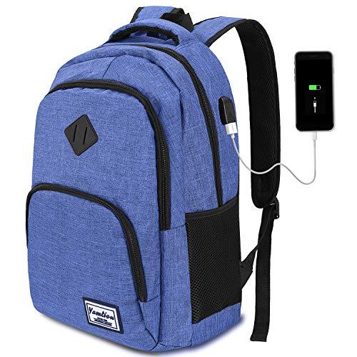 YAMTION Mochila Portatil para Hombre con Puerto de Carga Externa USB para Macbook y Netbook Negocio Escolar -35L