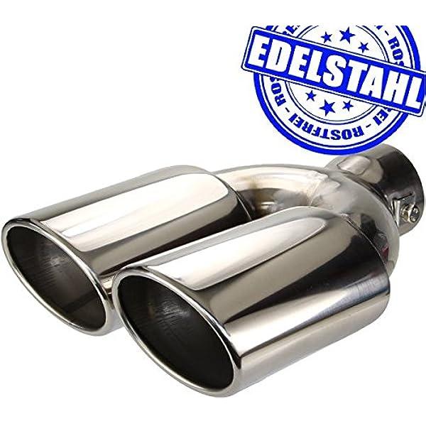 Universal Auspuff Blende Endrohr Edelstahl Doppel Sport Tuning Optik
