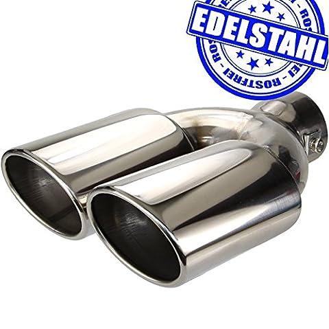 EDELSTAHL Auspuff Blende massiv DUPLEX Endrohr Tuning UNIVERSAL oval H3011