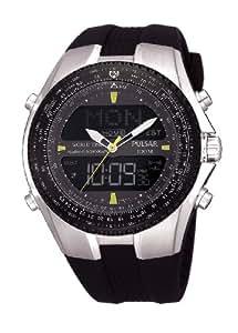 Pulsar - PM7005X1 - Montre Homme - Quartz - Analogique et Digitale - Alarme - Eclairage - Chronographe - Bracelet Caoutchouc Noir