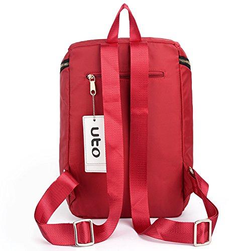 UTO Fashion Backpack Oxford wasserdicht Kleidung Nylon strukturiert Rucksack Schule College Buch Schultertasche schwarz Red