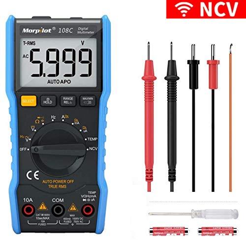 【Lieferbar】Morpilot Digital Multimeter mit 6000 Counts, True RMS, Auto-Range Temperaturmessung, Außenleiter-Identifizierung, Durchgangsprüfung, Hintergrundbeleuchtung