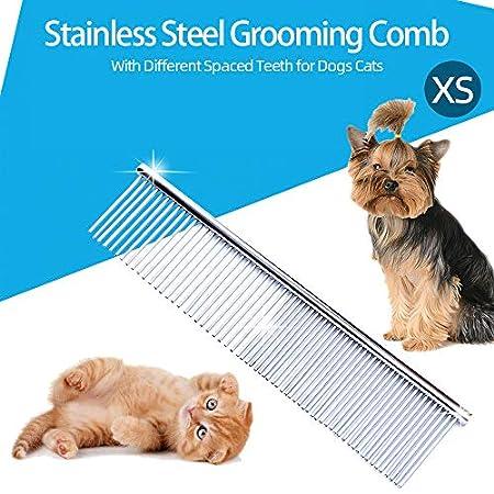 Weehey Edelstahl-Fellpflegekämme Hundekamm Fellpflege-Fellkamm mit verschiedenen Abstandszähnen für Hunde und Katzen