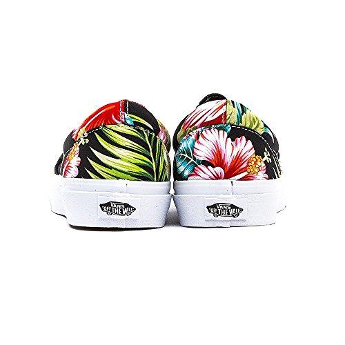 Vans Unisex Slip On Leinenschuhe Hawaii Blumen Design Schwarz