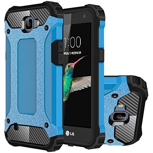 LG K4 Hülle, HICASER Hybrid Dual Layer Rugged Heavy Duty Defender Case [Shock Proof] Drop Resistance TPU +PC Handytasche Schutzhülle für LG K4 Blau