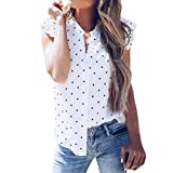 ASHOP Camisetas Muje, Camisetas Sin Mangas EN Oferta Suelto Tops Blusas de Mujer Elegantes de Fiesta Impresión de Puntos Gasa T-Shirt Moda 2018 (XL, Blanco)