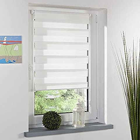 Translucent or Blackout Alternative Roller Zebra Blind Double Layer Curtain Window Shade Curtain without Drilling Window Blinds with Beaded Chain Daylight Shade-Multiple sizes (70*150cm)
