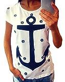 ZKOO Damen Loses Boots Anker Druck T-Shirt Sommer Kurzarm Rundhals T-Shirt Tops Blusen Lässige für Mädchen Weiß