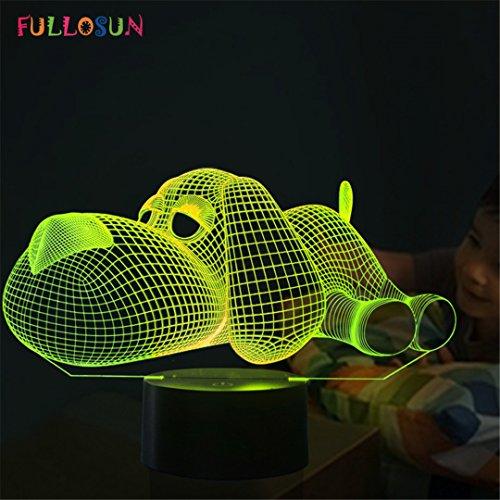 XIAOBIDENG Hund Lampe 3D-Nachtlicht Kids Spielzeug LED 3D Touch Tischleuchte 7 Farben blinkende LED-Leuchten Weihnachtsschmuck für Haus änderbar