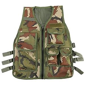 Gilet Tactique Molle Enfant Veste Camouflage de Combat Gilet de Protection Entraînement Elite Nerf Jeux CS Multipoches - 8 à 14 Ans