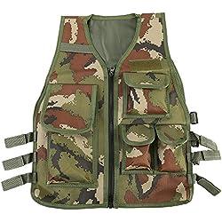 Chaleco Multi-bolsillos de Nylon Ajustable CS Airsoft Molle Chaleco para Caza Fotografía Pesca para Niños de 8 a 14 Años ( Color : Camouflage )