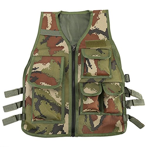 VGEBY Nylon Outdoor Multifunktion Weste Verstellbare Outdoor CS Spiel Airsoft Angelweste mit 5 Kleinen Taschen für Kinder von 8-14 Jahren Alt (Farbe : Camouflage)