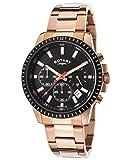Rotary Men's 40mm Chronograph Rose Steel Bracelet & Case Quartz Black Dial Watch GB00174-04
