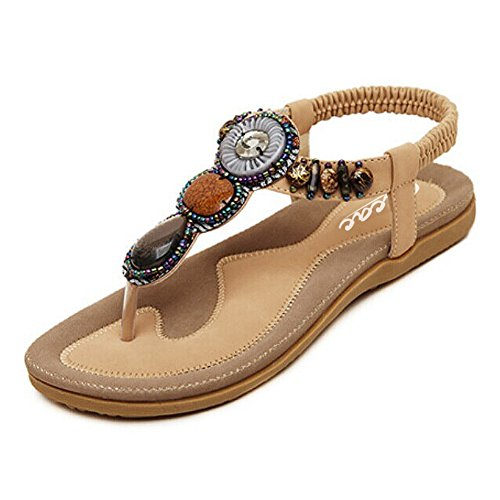 Zicac Women's Round Peep Clip Toe Bead Elastic T-Strap Bohemia Roman Sandals...