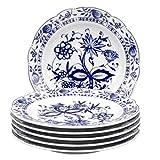 Kahla 17A208A72067U Zwiebelmuster Porzellan Geschirr Tellerset für 6 Personen 6-teilig Kuchenteller Dessertteller 21 cm rund blauweiß kleine Snackteller