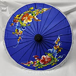 Asian Wood & Tissue Umbrella Ø 50, Handmade & Imported From Thailand (80123-dunkelblau-g)