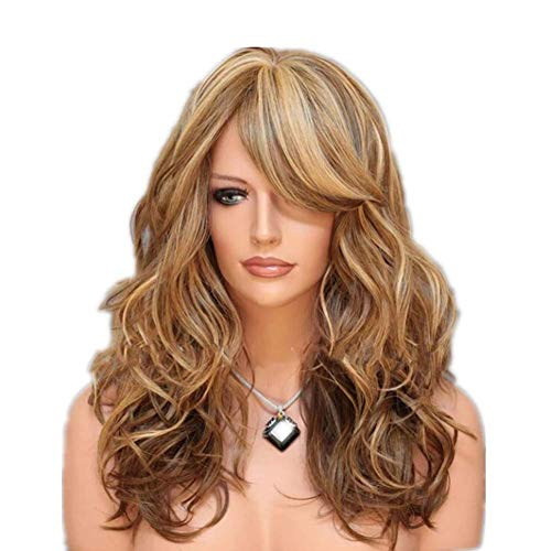 DANTB 66Cm Sexy Golden Blond Lang Big Wave Mix Full Volume Lockige Wavy Perücke W/Lange Bang Frauen-Mädchen-Volles Haar Perücke S Cosplay-Kostüm-Party Anime Perücken