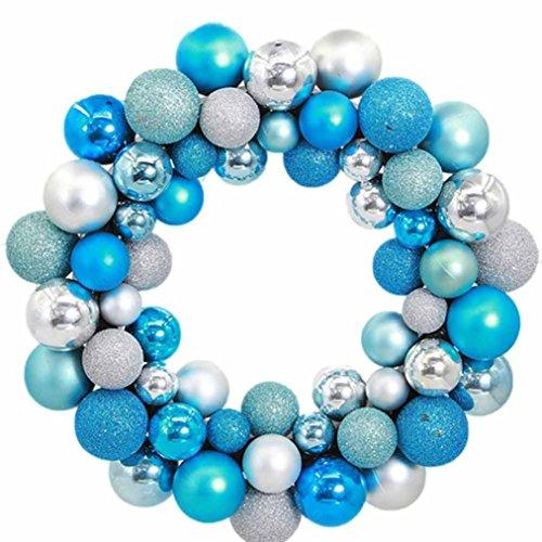 CICIYONER 55 Stücke Weihnachtskugeln Kranz Tür Wand Ornament Girlande Dekoration (1 set, Blau)
