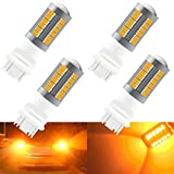 4pcs Yellow 3157 3047 3057 3155 5630 33SMD LED Bulbs 900LM Super Bright