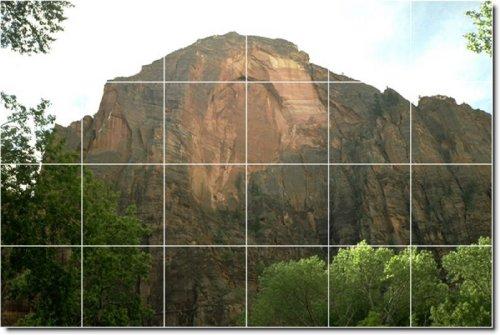 MONTAñAS FOTO MURAL BACKSPLASH AZULEJO 23  48X 182 88CM CON (24) 12X 12AZULEJOS DE CERAMICA