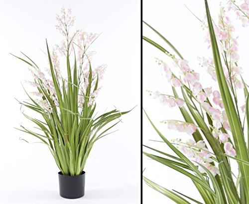 Künstliche Glockenblume mit rosa-weißen Blüten und Gras 105cm – Kunstpflanze Kunstbaum künstliche Bäume Kunstbäume Gummibaum Kunstoffpflanzen Dekopflanzen Textilpflanzen