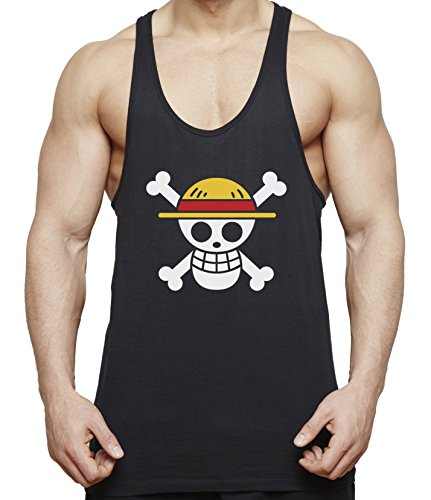 Ruffy Straw Hat Logo Herren Tank Top Fitness Gym Shirt Stringer Ruffy Luffy One Monkey Anime Piece Zoro, Farbe:Schwarz;Größe:XXL
