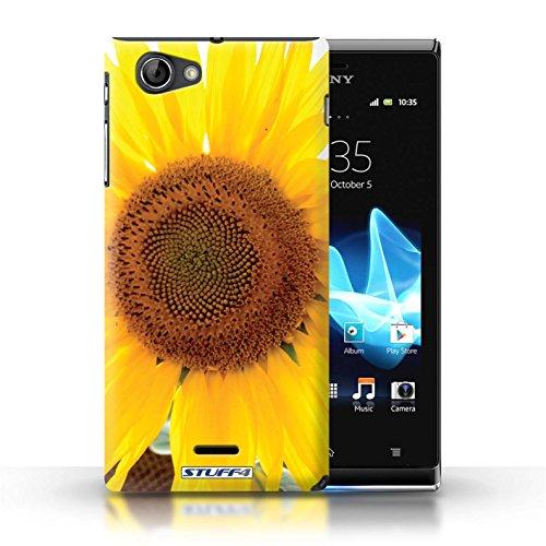 Kobalt® Imprimé Etui / Coque pour Sony Xperia J (ST26i) / Tournesols conception / Série floral Fleurs Tournesol