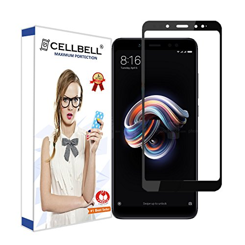 CELLBELL Full Glue Edge To Edge Tempered Glass Screen Protector For Xiaomi Redmi Note 5 Pro With Installation Kit