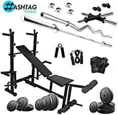 Hashtag Fitness 70 kg Gym Set with Multipurpose Home Bench Press