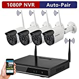 Auto-Pair ONWOTE 960P Full HD Wireless Security Camera System with 4 Outdoor 1.3