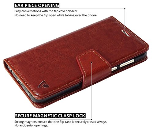 Ceego Luxuria Wallet Flip Cover for Honor 8 – [Ultra Compact with Credit Card Slots & Wallet] – Classic Business Style Huawei Honor 8 Flip Case (Walnut Brown)