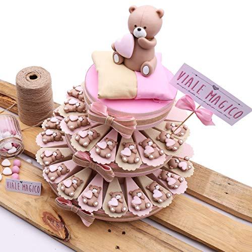 Torte con orsetti cuore bomboniere nascita bimba magnete millecuori tr1004m (torta da 35 fettine)