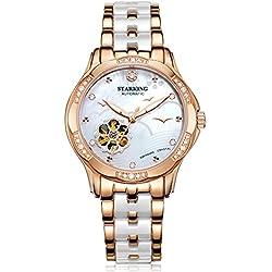 STARKING Women's AL0231RC31 Seaside Two-Tone Skeleton Automatic Watch w/ Ceramic Stainless Steel Bracelet