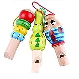 QHGstore Baby-hölzernes Karikatur-Tierpfeife-Spielzeug-pädagogisches Musik-Instrument-Spielzeug Zufällige Farb